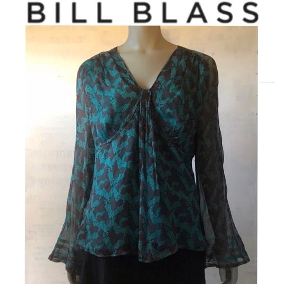 bill blass Tops - Bill Blass New York Chris Benz Flutter Top Blouse